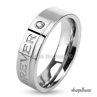 """Stainless Steel """"Love You Forever"""" Engraved Promise Wedding Ring Band Size 5-13"""