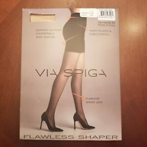"""Via Spiga Flawless Shaper Pantyhose  Nude Size B  Up To 5' 10"""" & 155 Lbs.  Italy"""