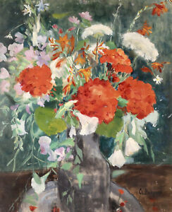 CLEMENCE BURDEAU (1891-1983) LARGE SIGNED FRENCH OIL BOARD - FLOWERS IN VASE