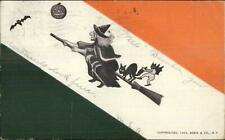 Halloween Witch Cat Bat Man on Broom Annin & Co c1910 Postcard
