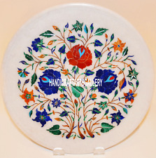 """12"""" Marble Plate Multi Marquetry Stone Kitchen Inlay Giving Tuesday Decors H3172"""