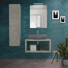 Mobile consolle piano sospeso H4 cm grigio cemento per lavabi d'appoggio