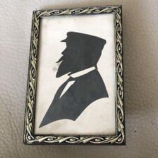 Antique Miniature Silhouette Original Art Victorian Edwardian Sailor Seaman Capt