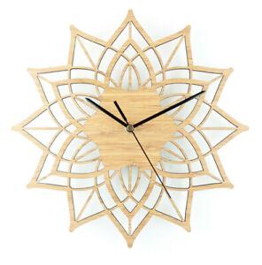 Natural Wood Lotus Modern Wooden Wall Clock