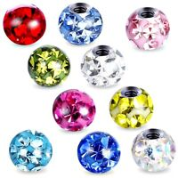 4MM FERIDO PIERCING REPLACEMENT BALL SPARE GEM CRYSTAL LABRET HELIX TRAGUS CLEAR