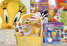 NEW TWEETY BIRD EASTER TOY GIFT BASKET BIRTHDAY GIFT PLAYSET PILLOW BOOKS ART