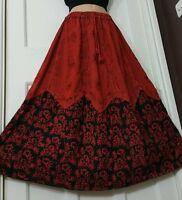 Long Rayon Embroidered Boho Hippy Gypsy Elasticated Skirt TERRACOTTA&BLACK 14-20