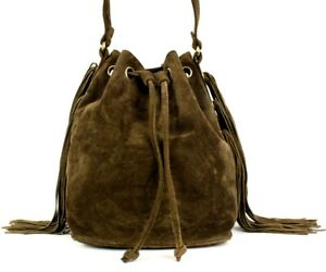 CHANEL Vintage Dark Brown Suede Logo Fringed Bucket Shoulder Bag