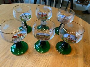 6 Germany Roemer Glasses Etched Grapes Green Beehive Wine Stem German Scenes
