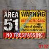 Metal Tin Sign area 51 no trespassing Decor Pub Bar Vintage Retro Cafe ART