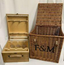 Fortnum & Mason Hamper And Wooden Wine Bottle Holder Picnic, Display