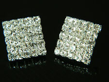 Bridal Jewellery Diamond Shine Silver Rhinestone Square Studs Earrings E150