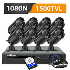 Zclever 720P 8Ch Cctv Security Camera System Hdmi Dvr with Hard Drive 1Tb Hdd