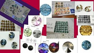 Swarovski Buttons Sew on 3015 3009 Round Square Upholstery Tufting Crystal