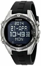 Pulsar PQ2003 Men's On the Go Digital 100m Stainless Steel Black Rubber Watch