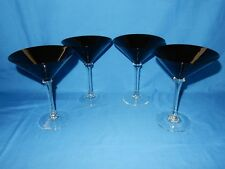 "Set of 4 Black Martini Glasses with Clear Stems 6 5/8"" tall Wafer / disc stem"