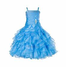 Rhinestone Organza Pleated Ruffled Flower girl dress Junior Formal Pageant 164s1