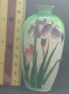Antique miniature Japanese Ginbari IRIS Cloisonne Vase