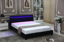 Full Size Modern Bedroom Platform LED Light Bed Metal Frame Couple Bed Headboard