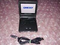 Nintendo Gameboy Advance GBA SP All Black IPS V2 w/ 10 Levels of Adj. Brightness