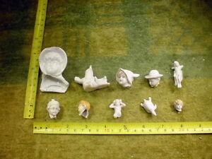 10 x excavated vintage victorian damaged doll head age 1890 mixed media B 740