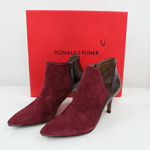 Donald J Pliner Ankle Booties 6M NEW Suede Patent Leather Burgundy Red Taila-KS
