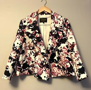 River Island Ladies Floral Jacket Size 14 White Cropped Open Collar Pockets