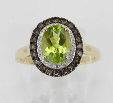 Peridot Diamond Smokey Topaz Halo Engagement Promise Ring Yellow Gold Size 7