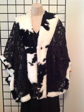Designer Black and White Faux Fur & Lace Cape NWT $319, Gorgeous! Kerry Damiano