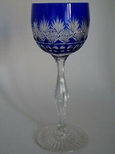ANTIQUE ONE WINE GLASS CRYSTAL ST LOUIS FRANCE PATTERN LAFAYETTE blue cobalt