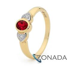 Ruby Diamond 9ct 9k Solid Yellow Gold Ring Size P 7.75 22491/CR