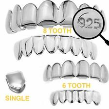 Real plata esterlina 925-Top Parte inferior Grillz Hip Hop Parrillas 6 8 o un solo dientes