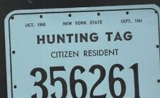 New York State Hunting Tag Citizen Resident 1960 - 1961