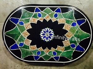 24 x 36 Inches Marble Coffee Table Top Marquetry Art Sofa Table for Living Room