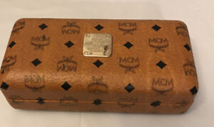 MCM Munchen Signature Pattern Glasses Brown Leather Case