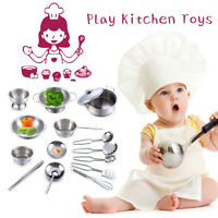15 Pack Play Set for Kids Stainless Steel Kitchen Cooking Bake Food Mini Toys