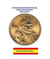 MONEDA DE UN DÓLAR AMERICANO AÑO 2000 CECA P INDIA SACAGAWEA DOLAR DE ORO MS-65