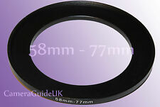 58mm to 77mm 58mm-77mm Stepping Step Up Filter Ring Adapter