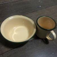 Mug Enamel Coffee Enamelware Camping Cup Set Home Mug Colored Rim White Vintage