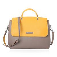 Gray Yellow Faux Leather Flap Bag with Shoulder Strap Women Fashion Handbag