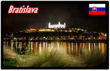 BRATISLAVA AT NIGHT, SLOVAKIA - SOUVENIR NOVELTY FRIDGE MAGNET /  SIGHTS / GIFTS