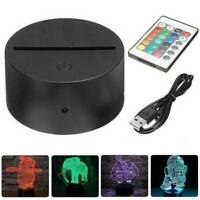 3D LED USB Lamp Base Acrylic Night Light Plate Panel Cable Remote Holder Stand