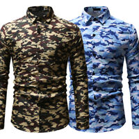 Men's Long Sleeve Slim Fit Camo Dress Shirts Camouflage Button Casual Shirt Tops