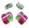 """Tiny DICHROIC GLASS Post EARRINGS 1/4"""" 10mm Red Pink Green Rock Candy Fused STUD"""