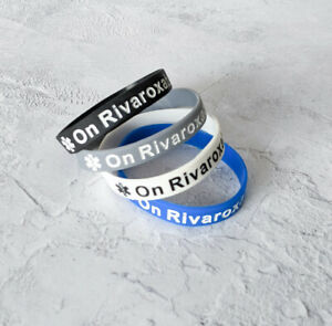 (X4) On Rivaroxaban Medical Alert Wristband Bracelet Blood Clot DVT Silicone UK