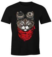 Herren T-Shirt Katze Cat Steam-Punk Moonworks®