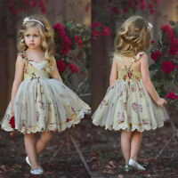 Kids Girl Lace Tulle Dress Flower Party Princess Formal Party Wedding Bridesmaid