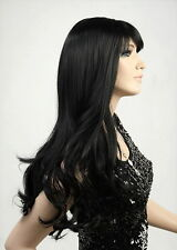 60cm Damen Perücke Schwarz Gelockt Lang Haar Wig Weiblich Haarteile wie Echthaar