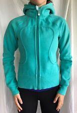 Lululemon Size 4 Scuba Hoodie Jacket Green Coat Blue Zip Up Sweatshirt Yoga