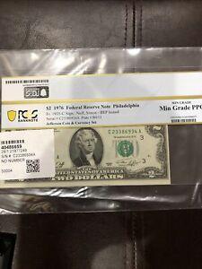 1976 $2 Federal Reserve Note Philadelphia Pcgs Min Grade